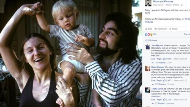 Axila peluda de Irmelin DiCaprio dividiu opiniões de usuários nas redes sociais; foto foi tirada em 1976 (Foto: Reprodução/Facebook)