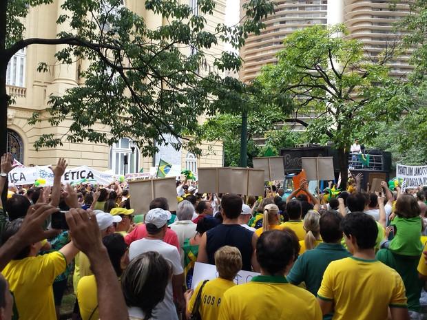 Milhares fazem protesto contra a presidente Dilma e o PT em Belo Horizonte (Foto: Humberto Trajano/G1)