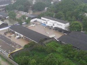 Sede da PRF ficou debaixo d'água no Rio após chuva (Foto: Arquivo Pessoal / Carlos André Nogueira)