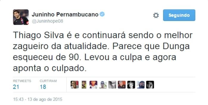 """BLOG: Juninho critica Dunga após não convocar T. Silva: """"Parece que se esqueceu de 90"""""""