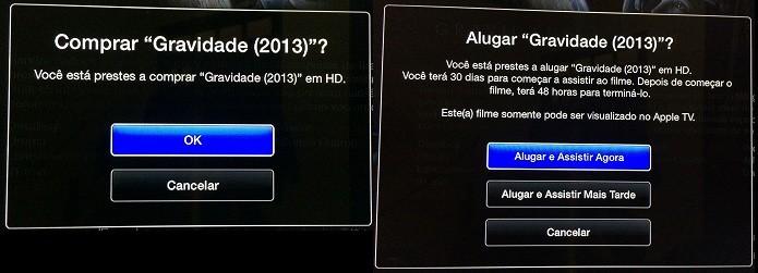 Confirmando o aluguel/compra de um filme (Foto: Reprodução/Edivaldo Brito)
