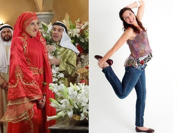 Renata diverte em cena de Alto Astral como Laila (esquerda), e faz pose na vida real (direita) (Foto: Gabriela Duarte e Arquivo pessoal / Gshow)