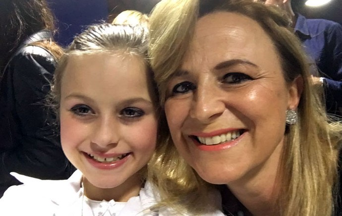 Rafa fez selfie com a mamãe Márcia depois da peça (Foto: Arquivo pessoal )