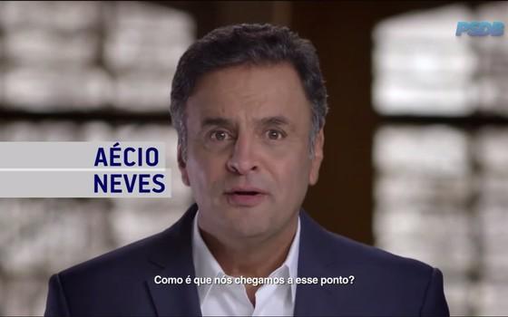 Aécio Neves em programa político do PSDB exibido em 28 de setembro de 2015 (Foto: Reprodução / YouTube)