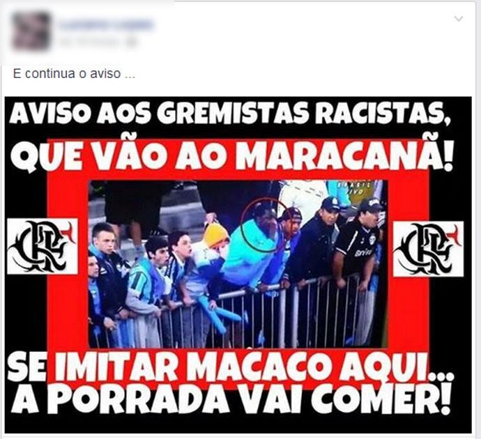Torcedor do Flamengo manda recado para os gremistas (Foto: Reprodução/ Facebook)
