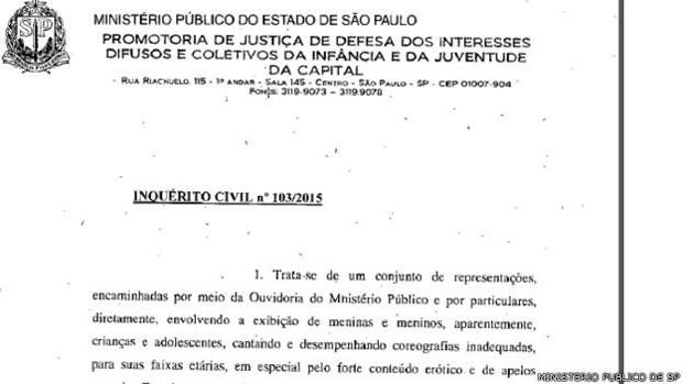 Ministério Público abre inquérito sobre 'sexualização' de MC Melody (Foto: Ministério Público de SP)