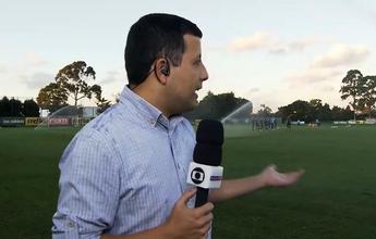 Repórter toma banho da irrigação ao vivo durante o treino do Palmeiras