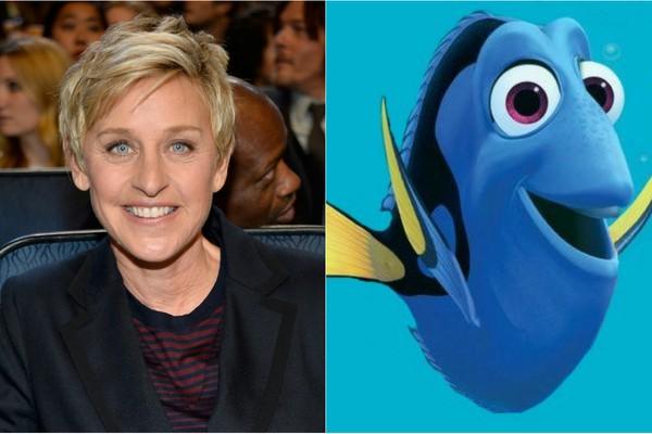 A simpatia é comum entre as duas! A apresentadora Ellen Degeneres encantou como Dory, de 'Procurando Nemo', e ganhou seu próprio filme, que deve estrear em 2016 (Foto: Getty Images e Divulgação)