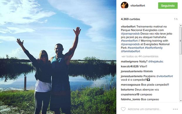 """BLOG: """"Dessa vez não teve jeito pro Jacaré"""", brinca Belfort, após treino em parque"""