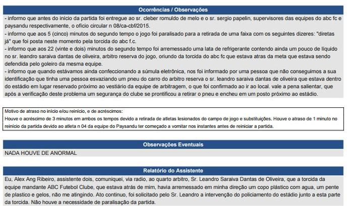 Súmula ABC x Paysandu (Foto: Reprodução)