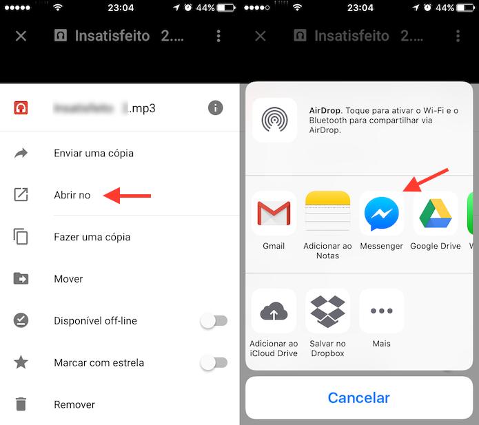 Opção para abrir uma música do Google Drive no Facebook Messenger (Foto: Reprodução/Marvin Costa)