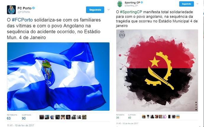 Equipes de Portugal se solidarizam com os familiares de Angola (Foto: Reprodução/Twitter)