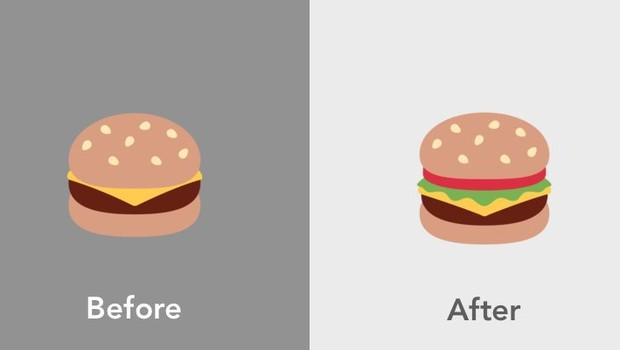 Emoji do cheeseburger no Twitter: à esquerda, o original e agora, repaginado (Foto: Reprodução/Twitter)