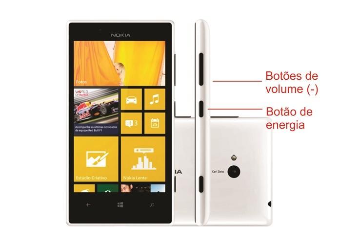 Nokia Lumia 720 pode ser resetado a partir dos botões de diminuir volume e energia (Foto: Arte/Divulgação)
