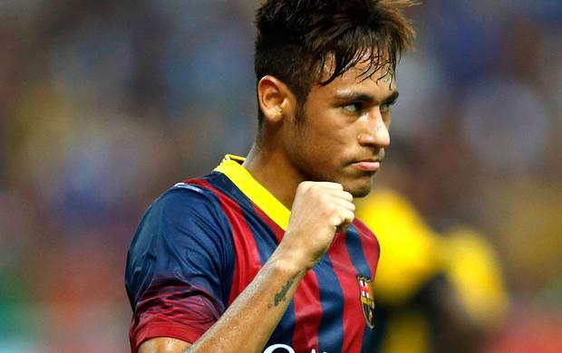 Neymar comemora gol do Barcelona contra o combinado da malásia  (Foto: Agência AP)