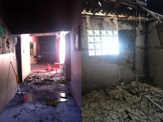 Escola foi arrombada e incendiada na cidade de Juazeirinho (Foto: Lamartine Lacerda/Polícia Civil)