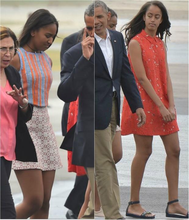 O presidente dos Estados Unidos Barack Obama e as filhas Sasha e Malia durante viagem histórica a Cuba (Foto: AFP)