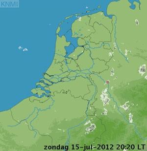 Previsão do tempo para este domingo na Holanda, feita pelo KNMI (Foto: Reprodução/KMNI)
