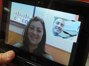 Cius, da Cisco, permite videoconferência (Foto: Gabriel dos Anjos/G1)