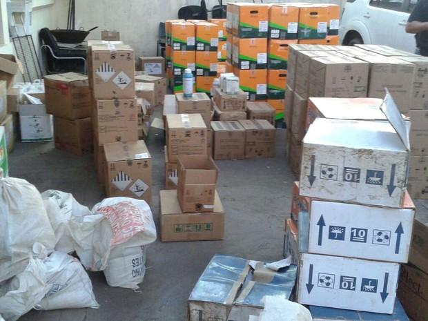 Produtos roubados de revendas agrícolas foram encontrados em depósito em Maringá, na quinta-feira (4) (Foto: Divulgação/Polícia Civil)