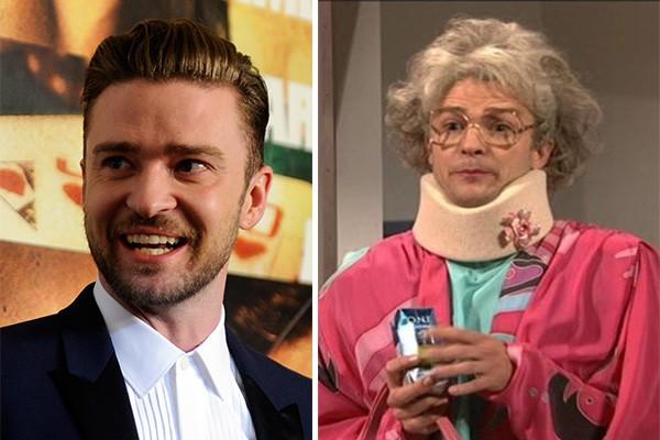 Justin Timberlake interpretou muitas personagens mulheres para o 'Saturday Night Live'. (Foto: Getty Images e Divulgação)