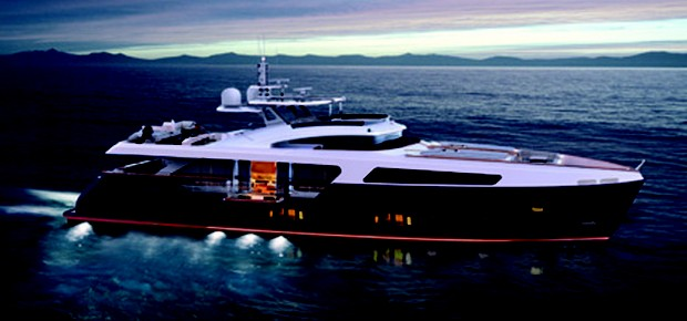 O 100´Limited Edition, da MCP Yachts: o mais sofisticado barco metálico já construído no Brasil possui 100 pés e comporta até 30 pessoas (Foto: Divulgação)