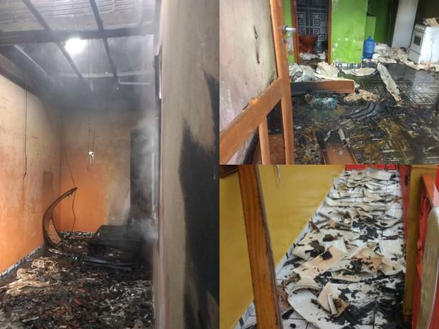 Bombeiros foram acionados e conseguiram conter chamas em residencial da Cidade Nova (Foto: Divulgação/Corpo de Bombeiros do Acre)