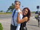 Paloma Bernardi e Otaviano Costa esbanjam bom humor em gravação