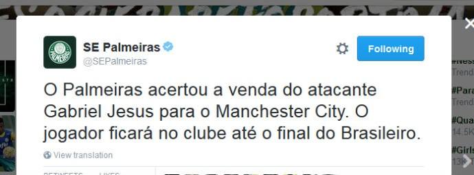 Palmeiras confirma venda de Gabriel Jesus para o Manchester City (Foto: reprodução / Twitter)
