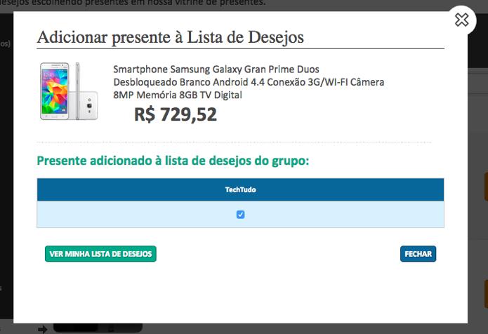 Confirme o grupo ao qual você deseja adicionar o item (Foto: Reprodução/Paulo Alves)
