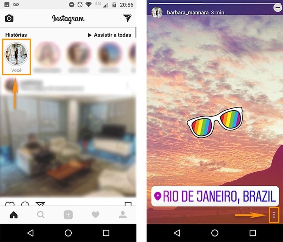 Acesse seus Stories no Instagram e toque no menu indicado (Foto: Reprodução/Barbara Mannara)