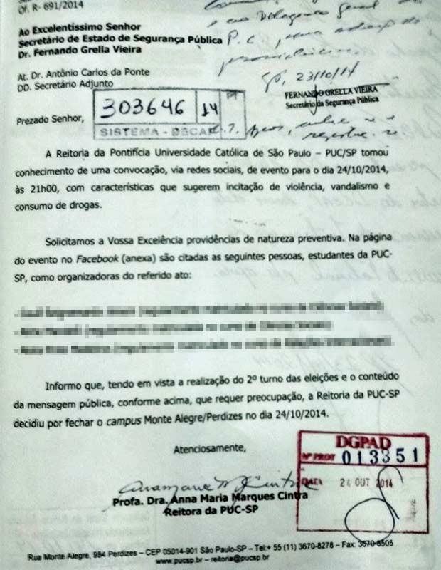 Ofício da PUC enviado ao secretário da Segurança, que consta no inquérito. (Foto: Reprodução)