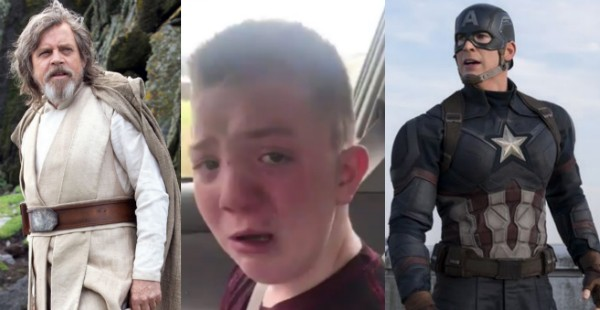 O jovem Keaton Jones com seus novos amigos, Luke Skywalker e Capitão América :) (Foto: Reprodução/Twitter)