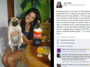 Família de Barbara Regina faz apelo nas redes sociais (Foto: Reprodução/Facebook)