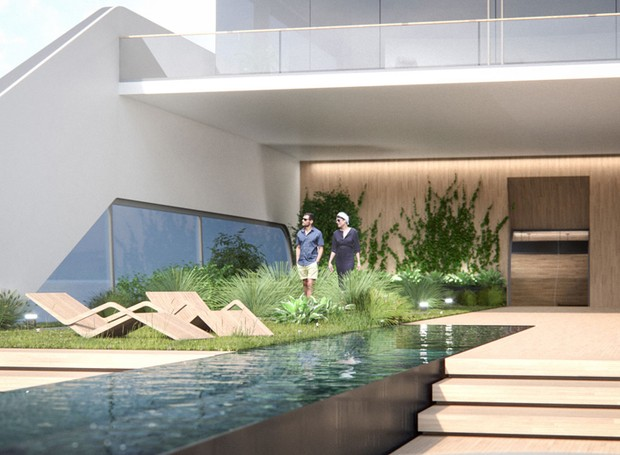 A embarcação tem piscina com borda infinita e jardim (Foto: Hareide Design Norway/Divulgação)