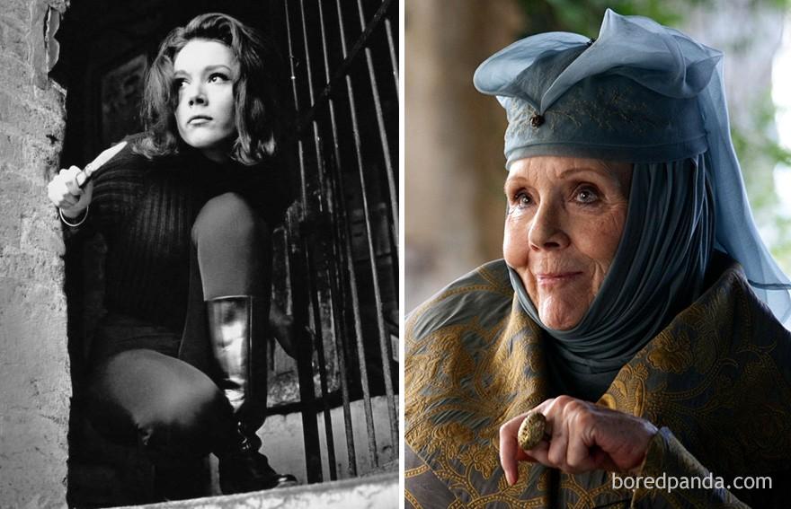 Diana Rigg como Emma Peel (na série Os Vingadores, de 1961) e como Olenna Tyrrel (Foto: Reprodução)