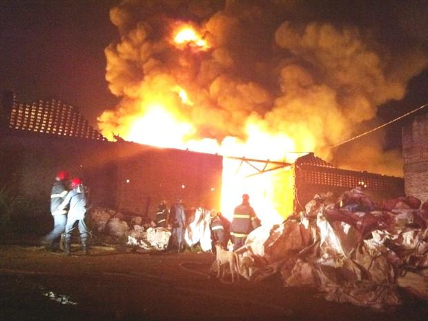 Incêndio depósito Uberaba (Foto: Alex Rocha)