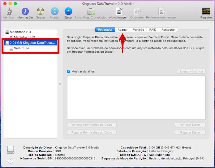 Ferramenta de utilitário de disco do OS X (Foto: Reprodução/Helito Bijora)