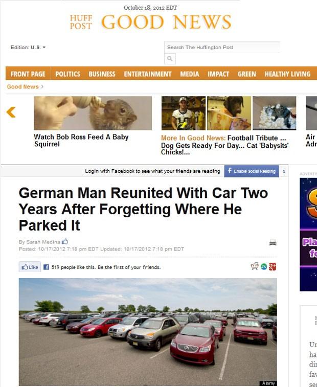 Carro foi encontrado a 5 Km de onde homem afirmava ter estacionado (Foto: Reprodução)