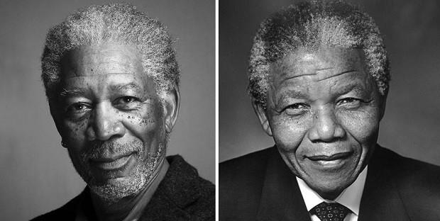 Morgan Freeman e Nelson Mandela (Foto: Divulgação)