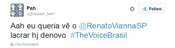 Tweet lamenta que Renato Vianna não vai cantar (Foto: Arquivo Pessoal)