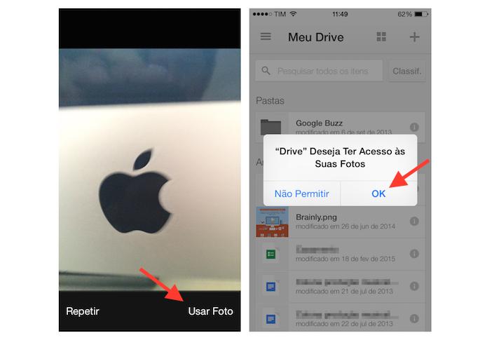 Salvando uma foto feita no iPhone direto no Google Drive (Foto: Reprodução/Marvin Costa)