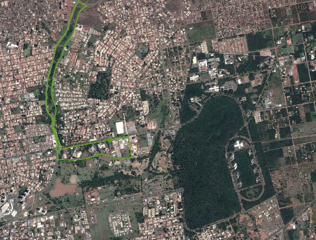 Percurso da caminhada de 7 km da Volta das Nações 2013 (Foto: Reprodução)