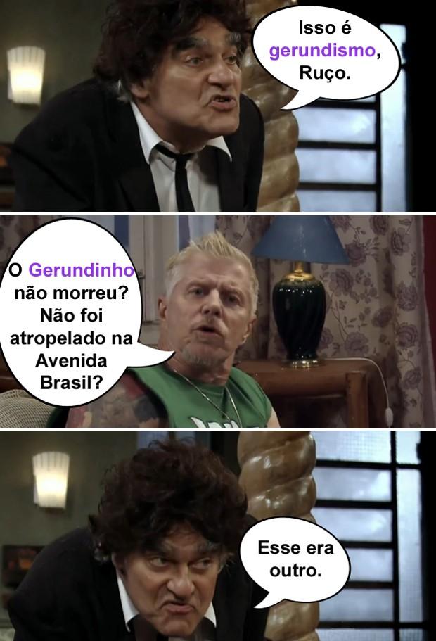 Ruço acha que 'gerundismo' é um conhecido que morreu atropelado (Foto: Pé na Cova / TV Globo)
