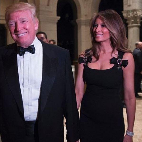 Donald Trump e Melania Trump no Réveillon 2017 (Foto: Reprodução)