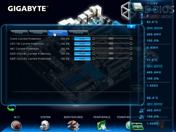 Exemplo de setup de uma BIOS UEFI da Gigabyte apresenta uma interface mais extravagante (Foto: Reprodução/TechPowerUp)