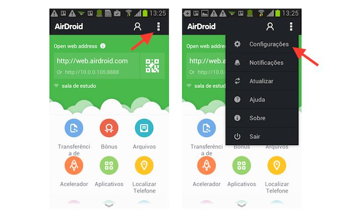 Acessando as configurações do AirDroid no Android (Foto: Reprodução/Marvin Costa)