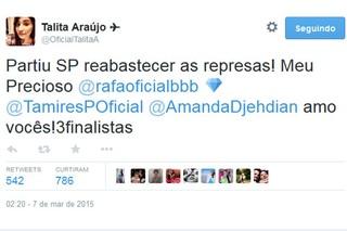 Talita declara amor a Rafael e amizade a Tamires e Amanda (Foto: Twitter / Reprodução)