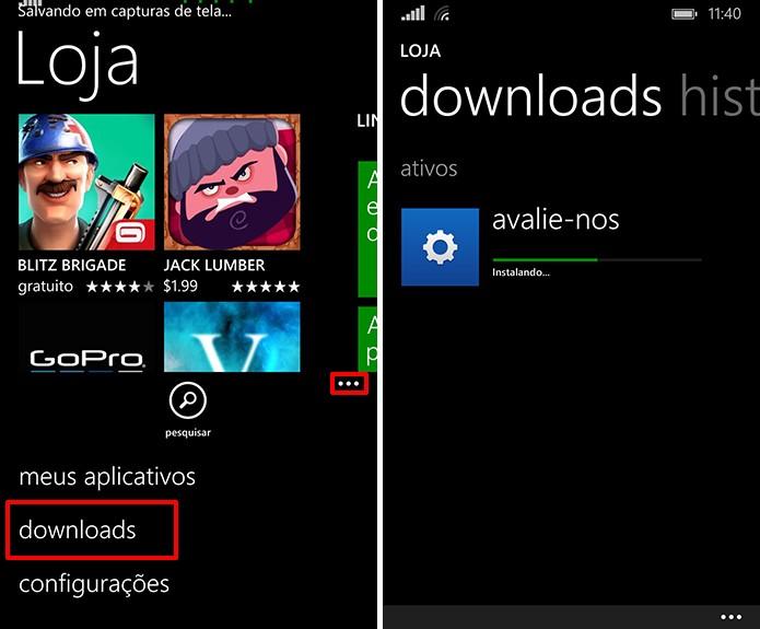 Windows Phone Store instalará aplicativos ou exibirá atualizações após comando dos usuários (Foto: Reprodução/Elson de Souza)