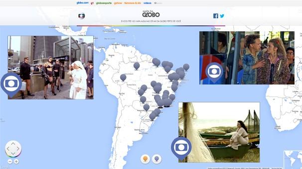 Viaje pelo Brasil através das novelas, séries e minisséries no Mapa da Globo, em comemoração dos 50 anos (Foto: Reprodução)